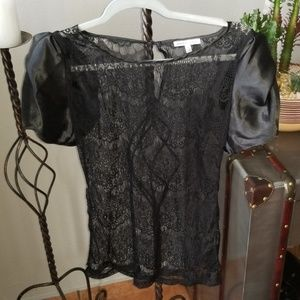 Black satin sleeved tops